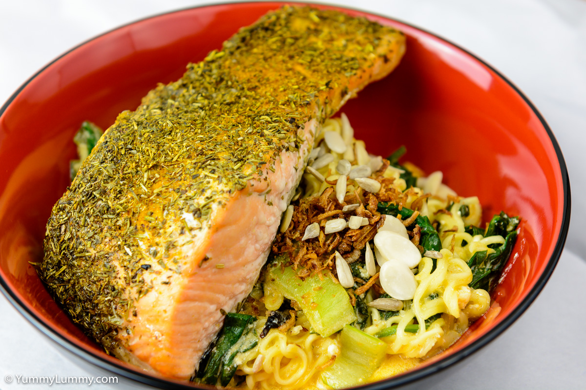 Sunday dinner. Sunday salmon with curry noodles.