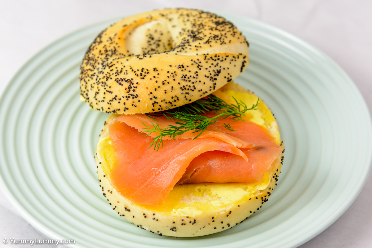 Tuesday morning. Smoked salmon on poppy seed bagel.