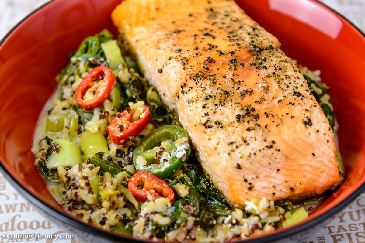 Tuesday dinner. Baked salmon with rice and quinoa.