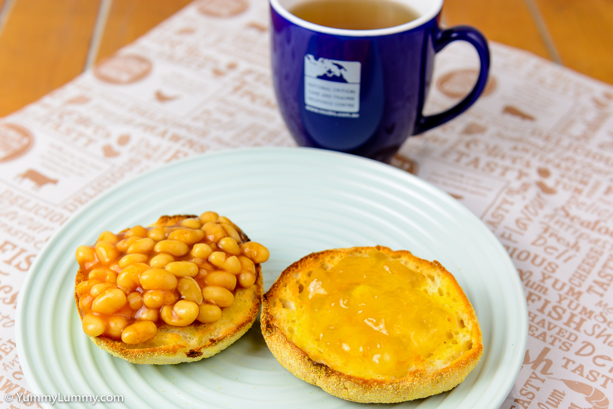 TGIF Breakfast. English muffin with baked beans and Worcestershire sauce plus Buderim Ginger Factory ginger marmalade.