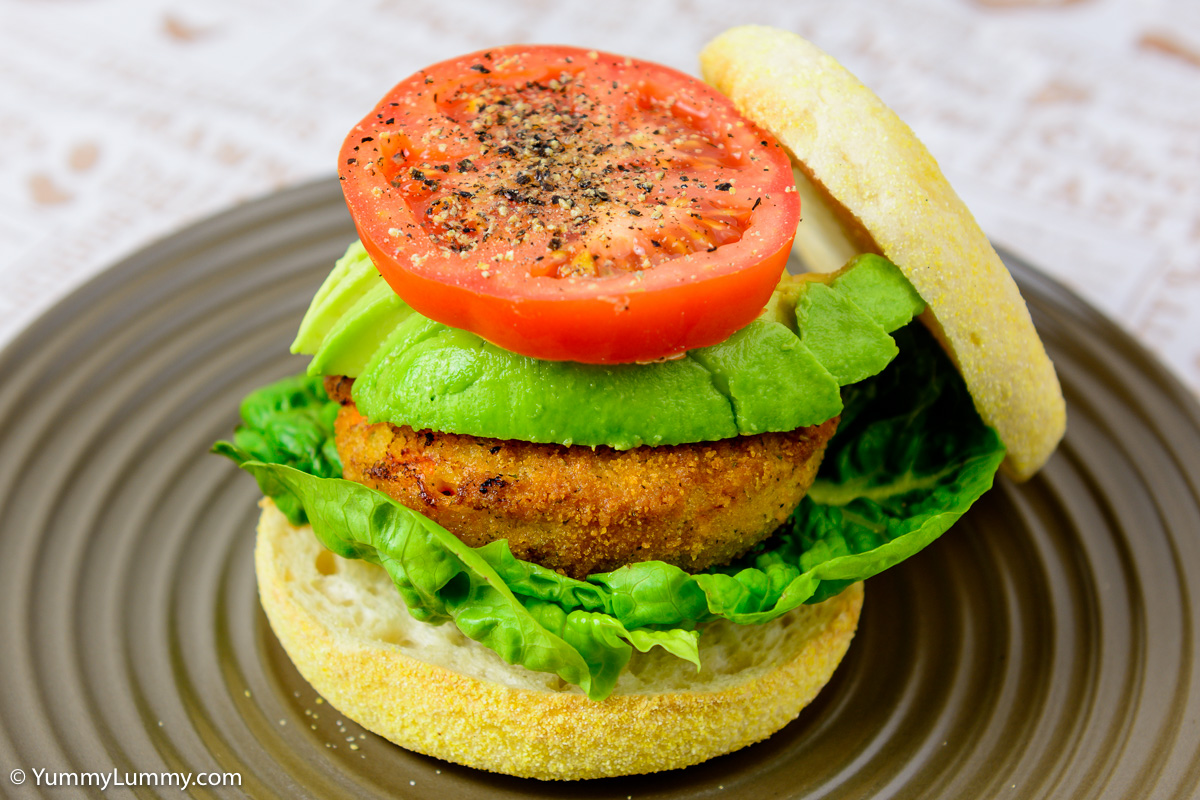 TGIF dinner. Salmon cake in an English muffin with avocado, lettuce and tomato.