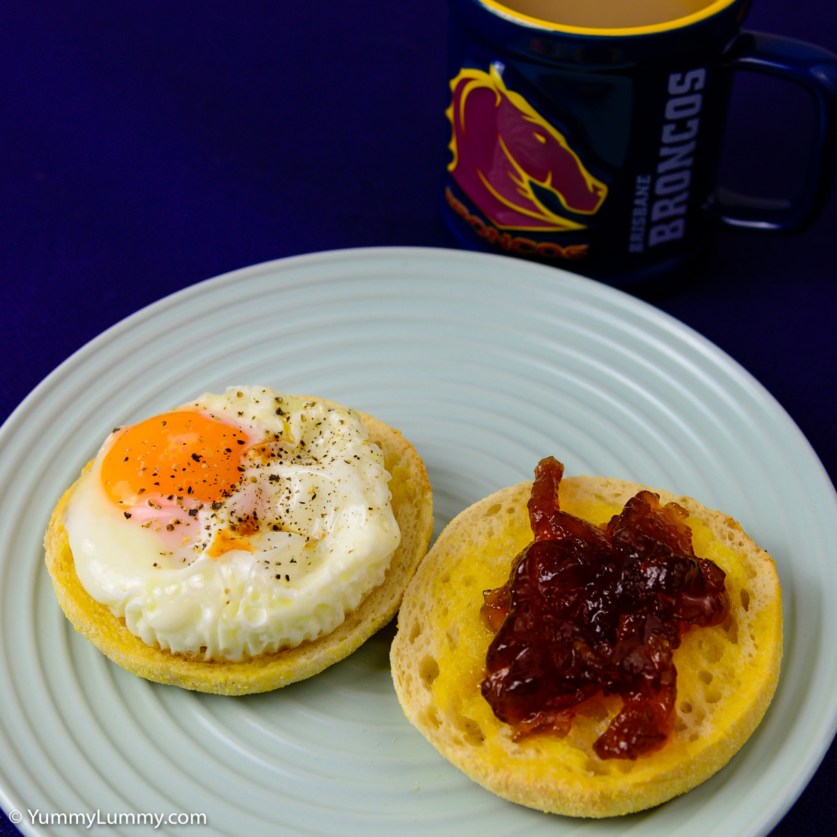 Saturday breakfast. English muffin with fried egg and English marmalade with a coffee too.