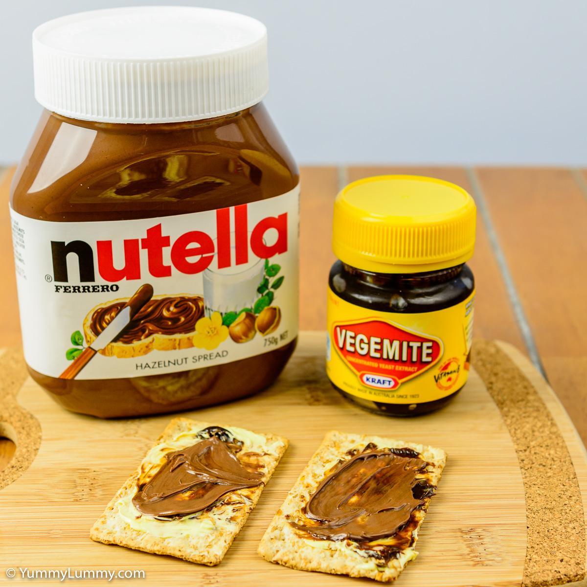 Saturday afternoon tea. My version of chocolate Vegemite. Nutella and Vegemite on a VitaWeat biscuit.