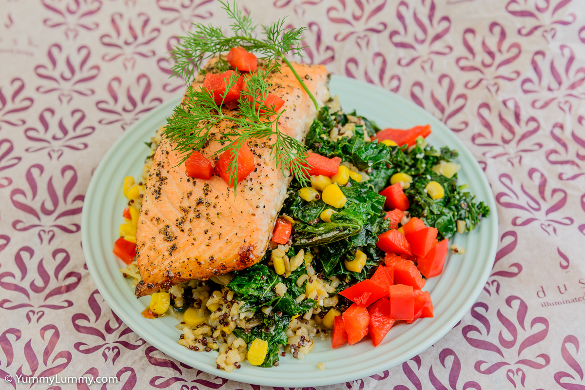 Monday dinner. Baked salmon with quinoa rice and kale.
