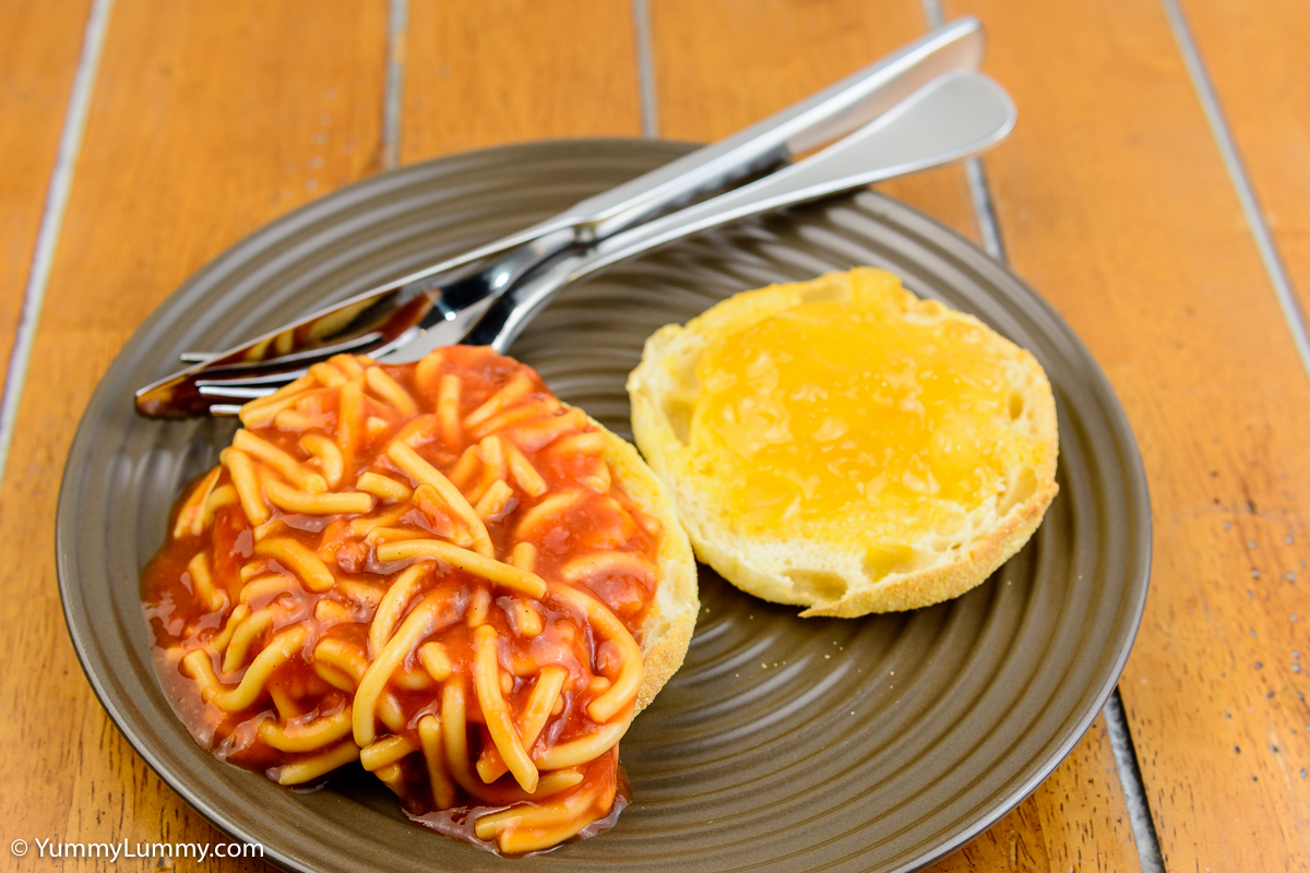 TGIF breakfast. Spaghetti on an English muffin and some Buderim Ginger Factory ginger marmalade.