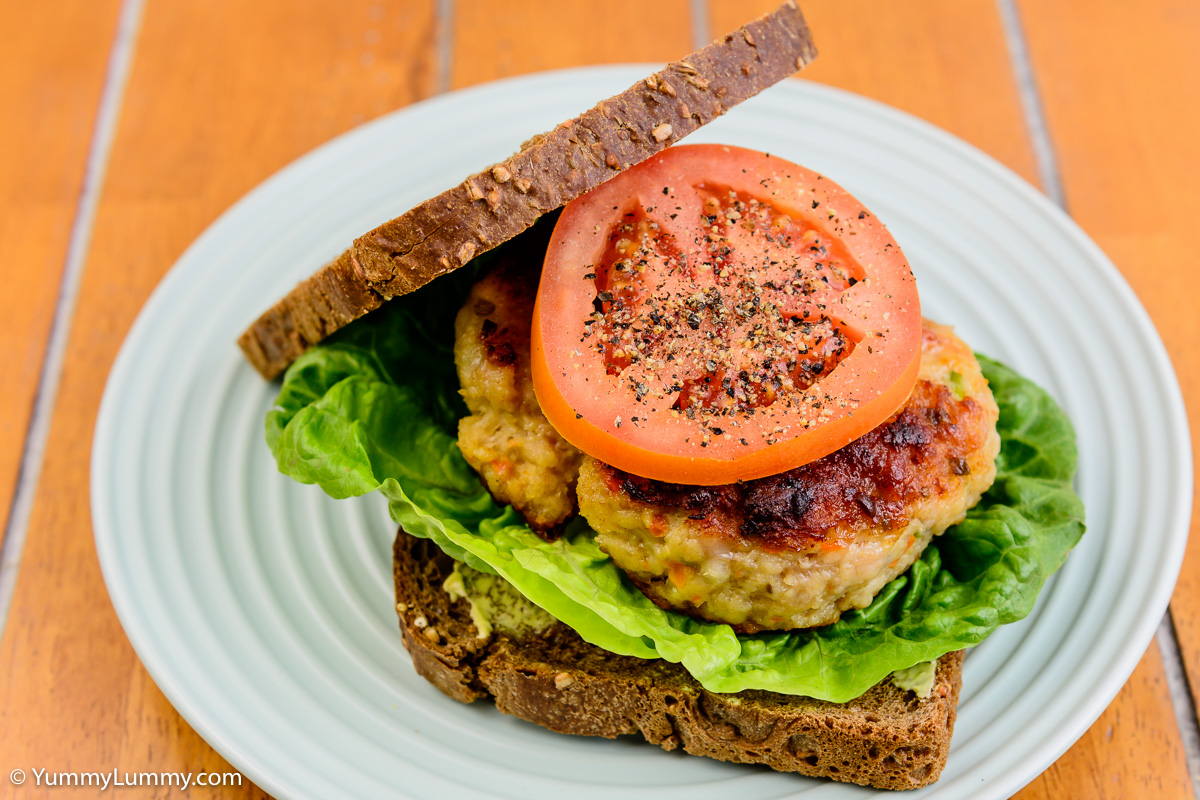 TGIF dinner. Chicken, lettuce and tomato sandwich on rye bread.