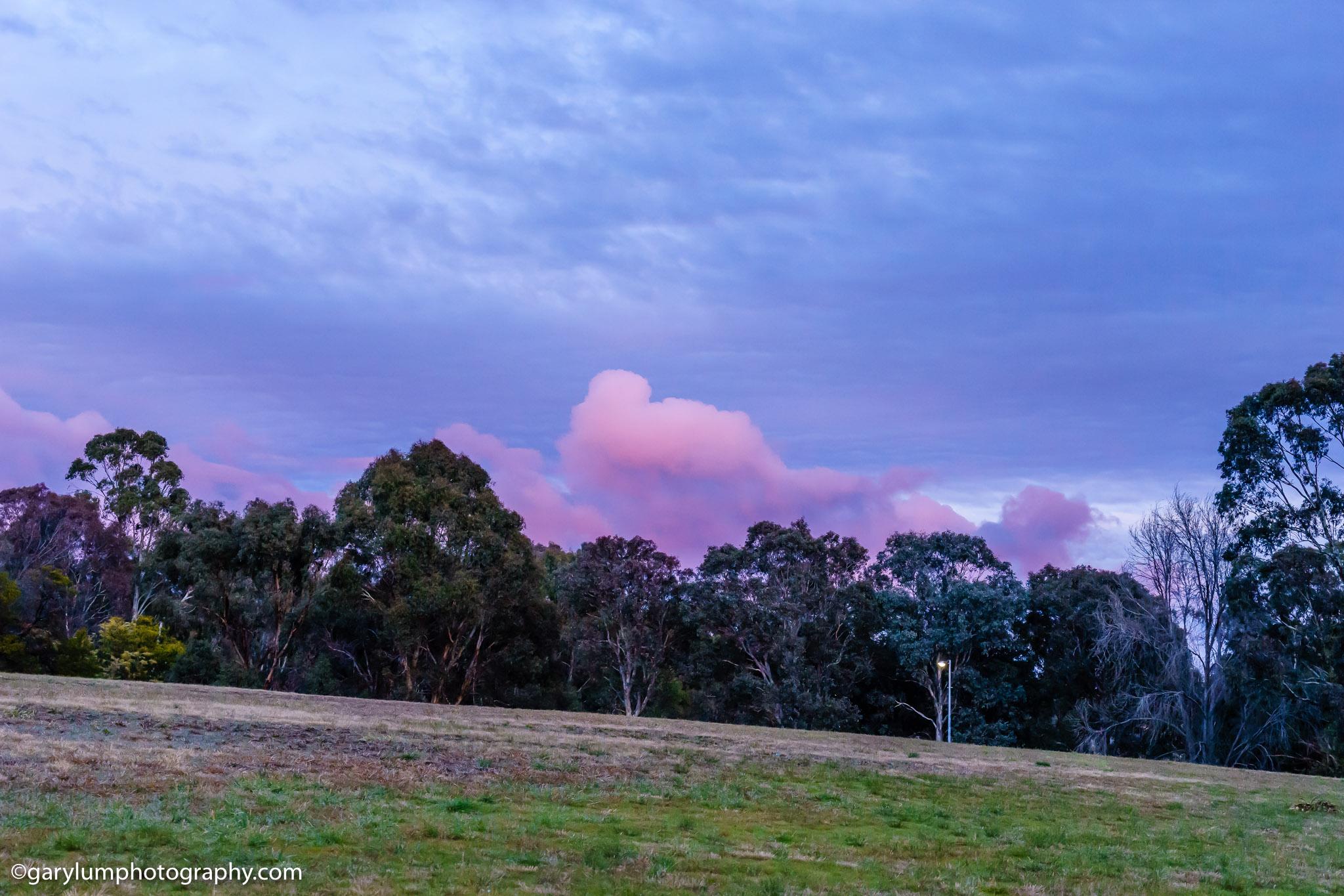 Lake Ginninderra pink clouds