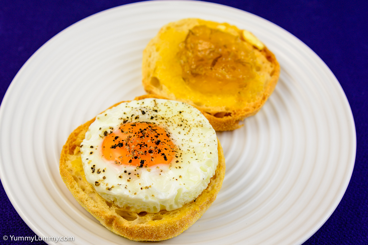 Saturday breakfast. Fried egg on English muffin with Buderim Ginger Factory ginger, lemon and lime marmalade.