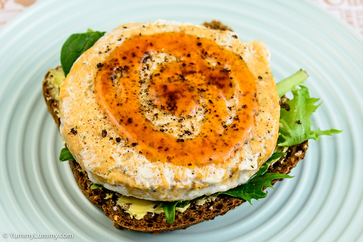 Salmon burger on rye bread