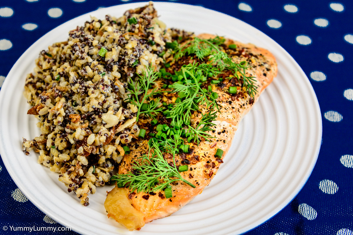Sunday dinner. Baked salmon and quinoa rice.
