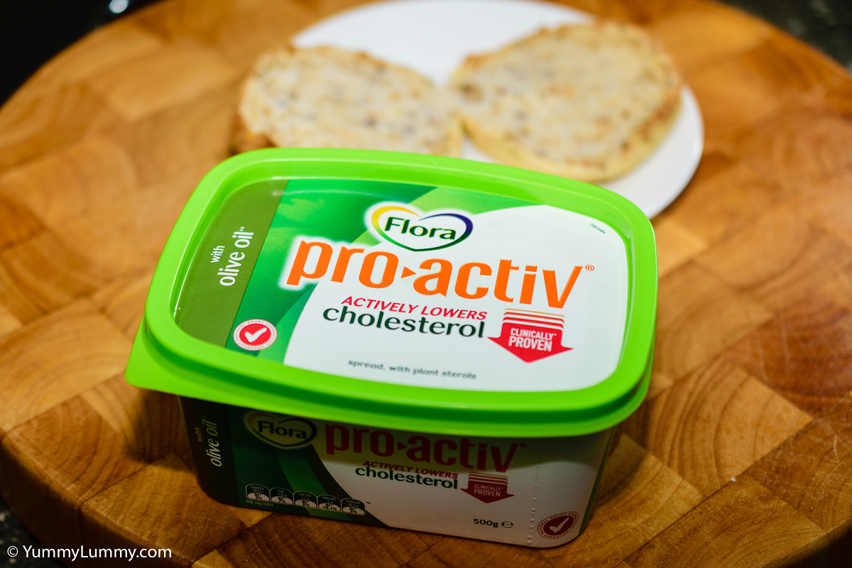 Cholesterol lowering pro-activ spread and  whole grain English muffin