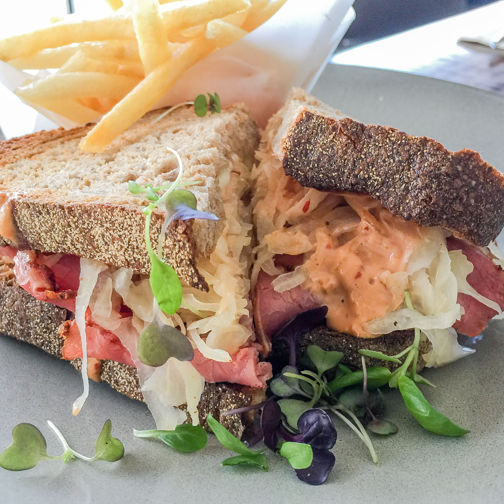 Saturday lunch. Reuben sandwich at Ricardo's Cafe.