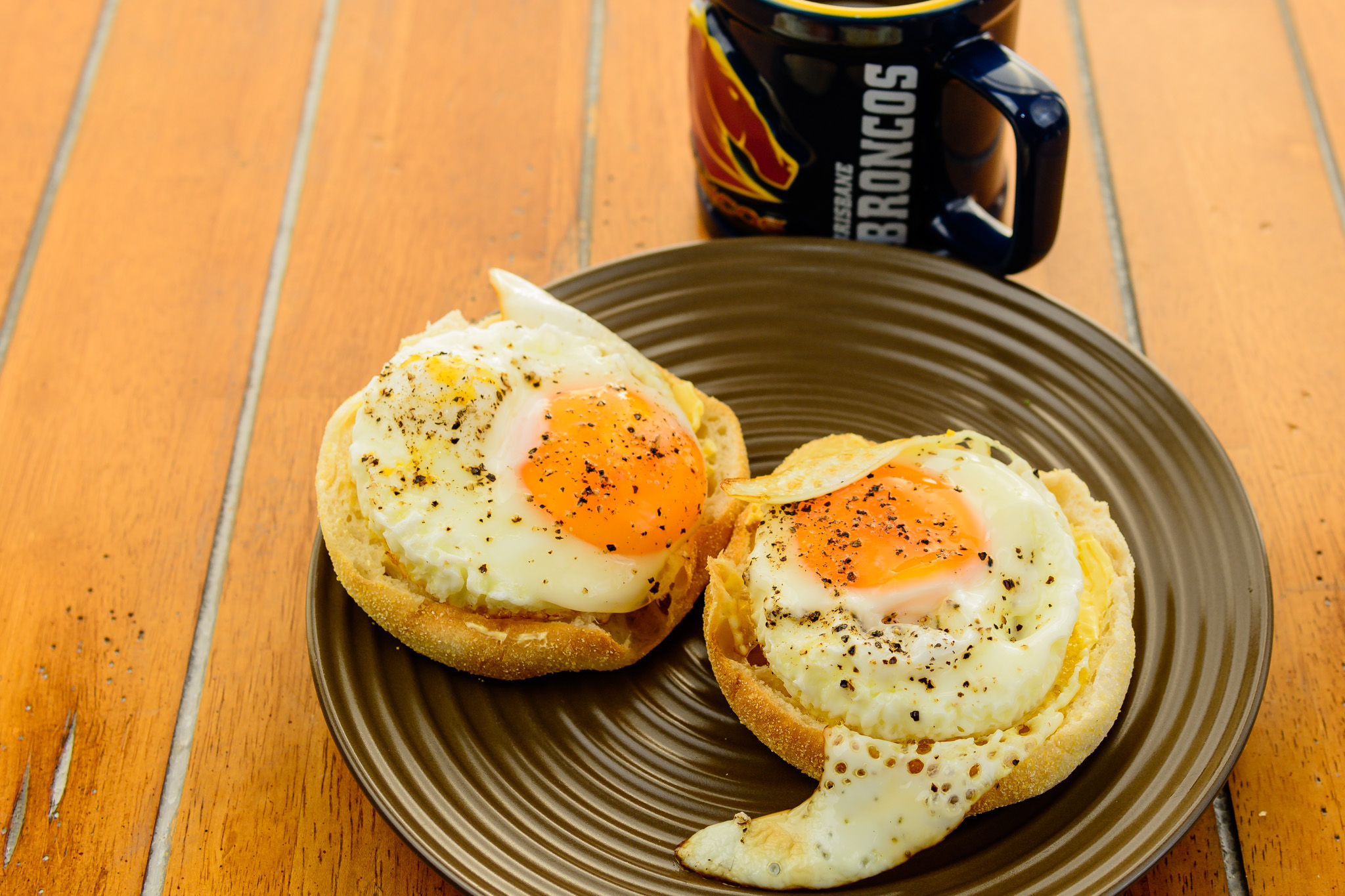 Low residue Sunday breakfast. Fried eggs on English muffin.