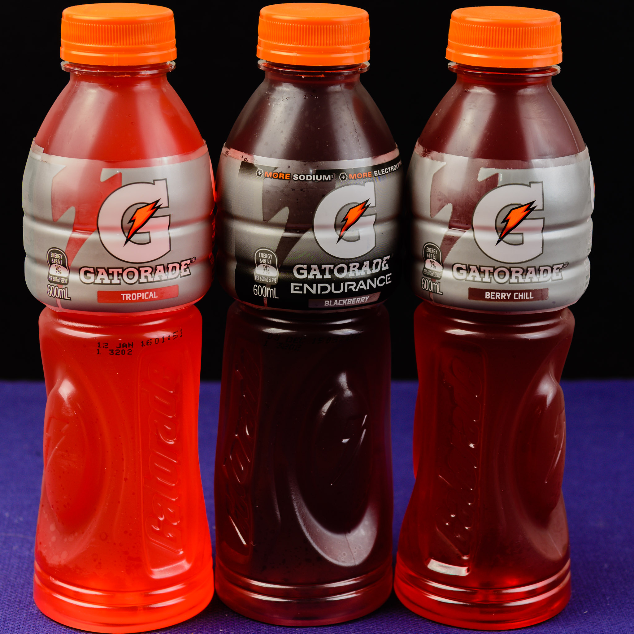 Gatorade tropical, blackberry and berry chill