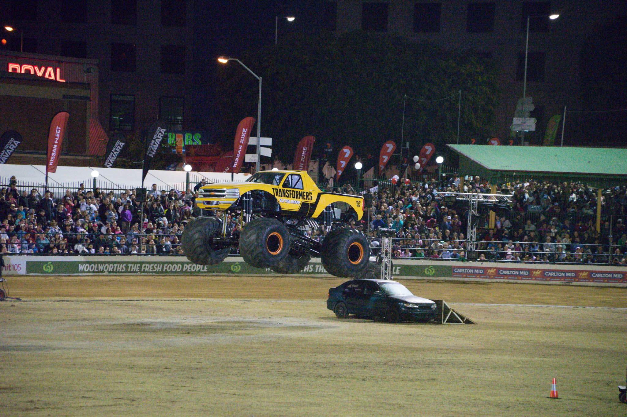 Saturday night fun at The Ekka. Monster trucks, motorcycles, and burn outs.