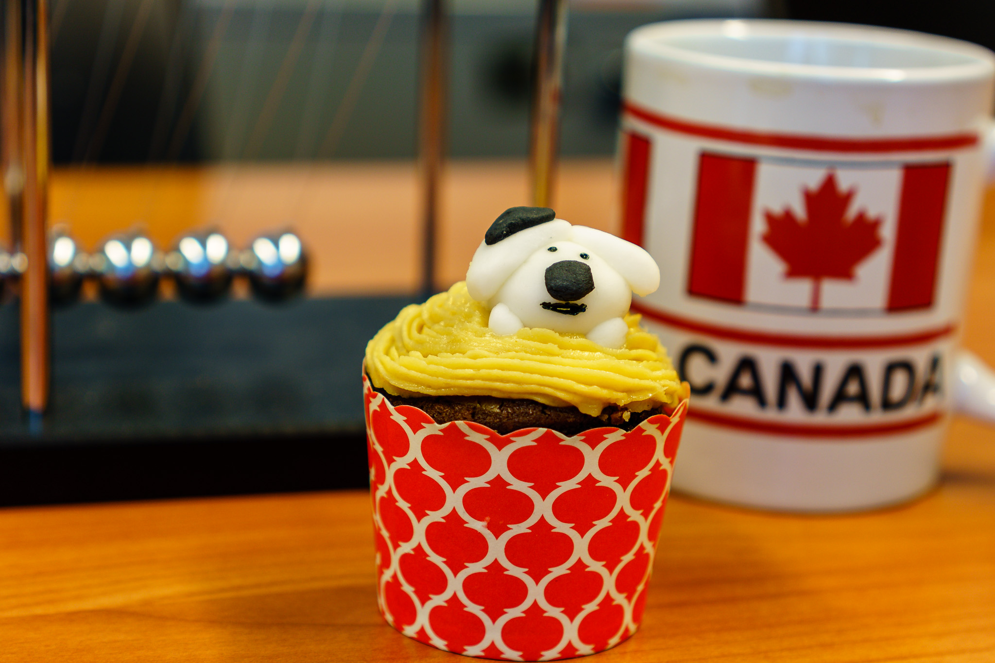 Monday morning tea. RSPCA cupcake and coffee. How cute is the dog!
