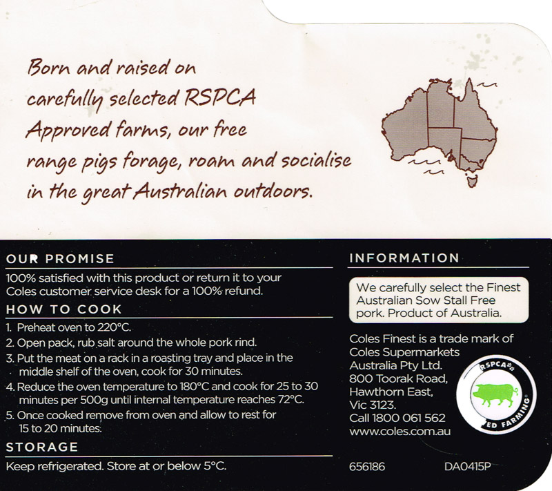 RSPCA Pork belly from Coles product information