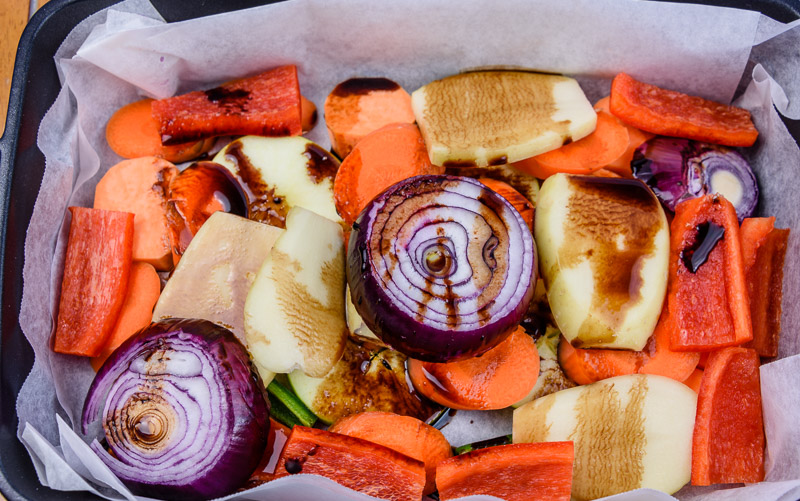 Mirepoix with balsamic vinegar