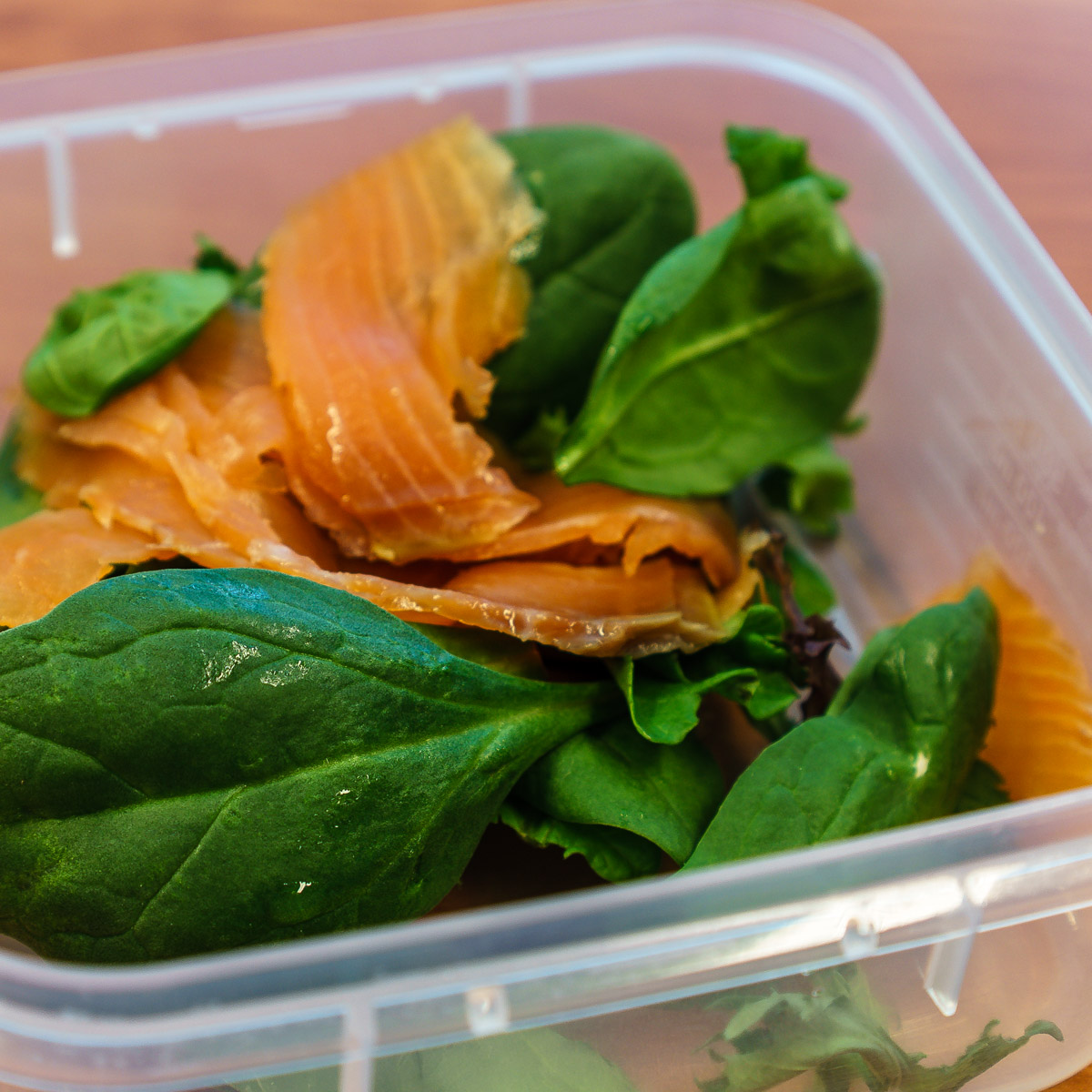Smoked salmon and leaves