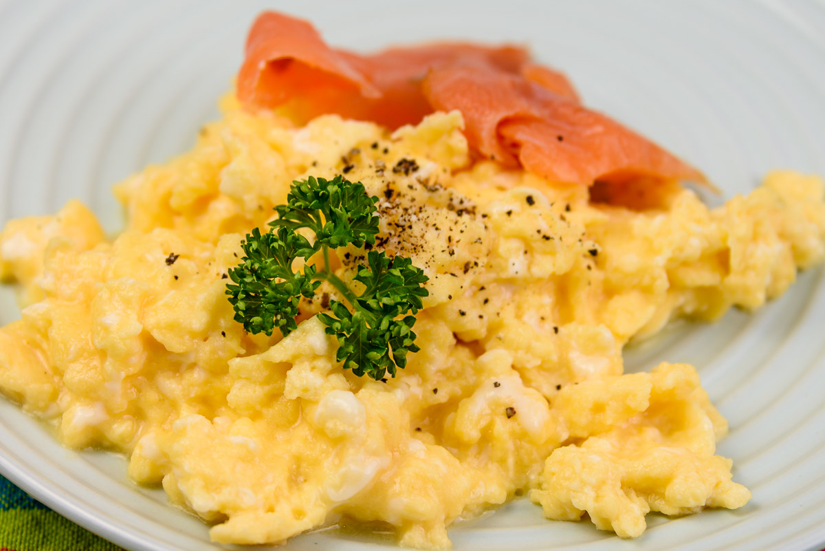 Sunday breakfast. Low fat scrambled eggs with smoked salmon.