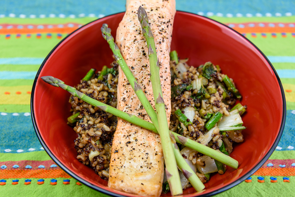 Monday dinner. Baked salmon with coconut quinoa rice, bok choi, ginger marmalade, and asparagus.