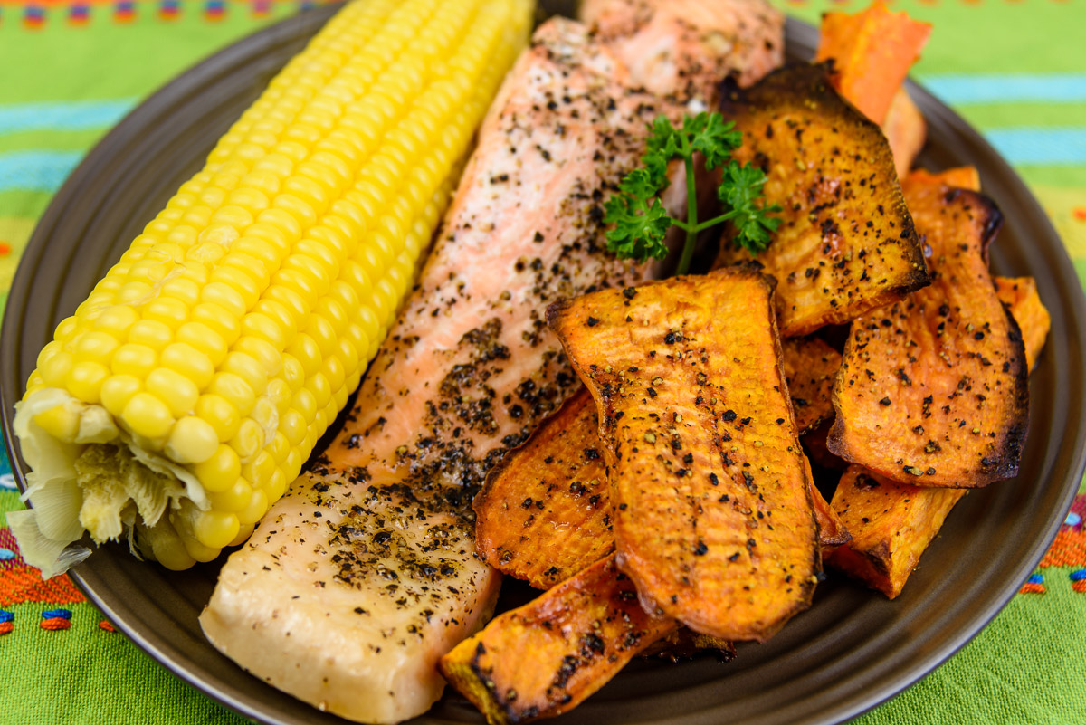Tuesday dinner. How sweet is this meal? Baked salmon, sweet corn and sweet potato.