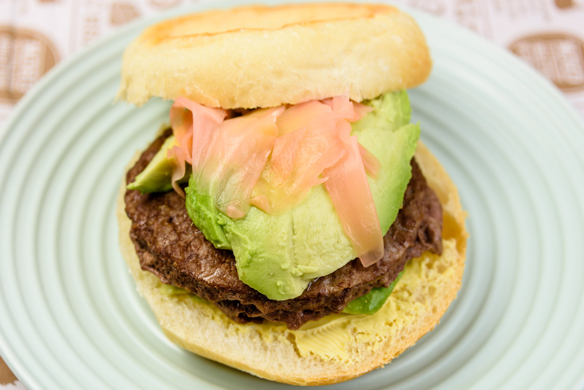 Thursday dinner. Beef burger with avocado and pickled ginger.