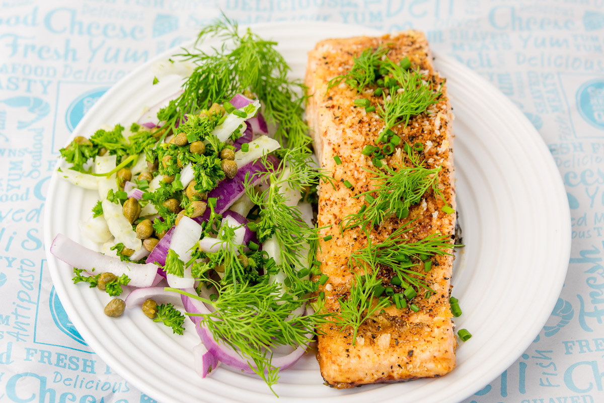 Monday dinner. Baked salmon and fennel salad.