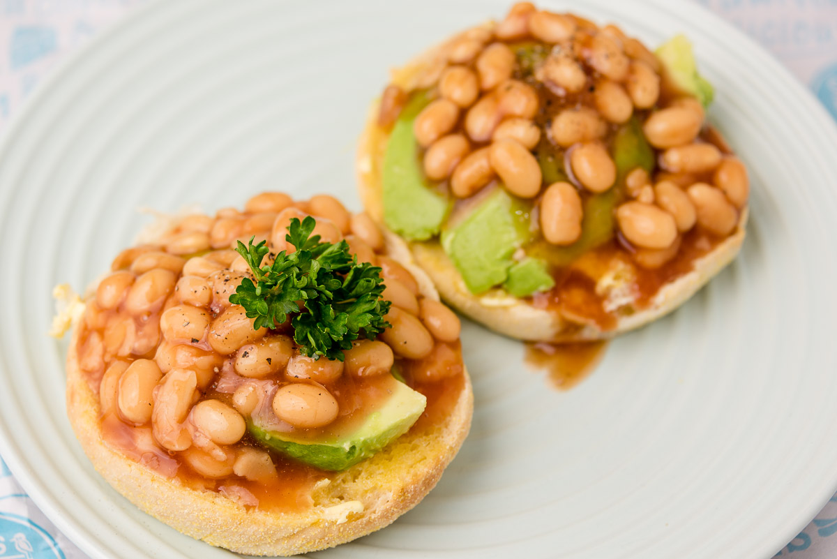 Thursday breakfast. Baked beans and avocado on an English muffin.