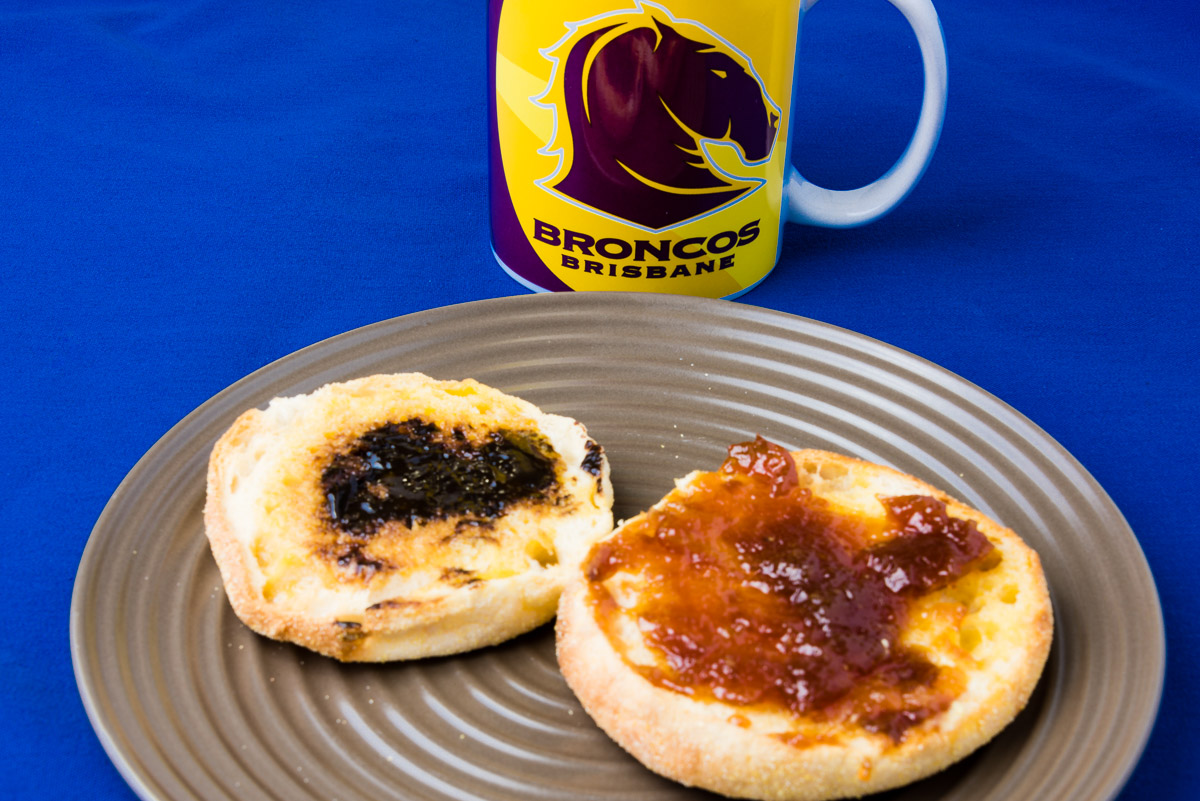 Vegemite and marmalade on an English muffin