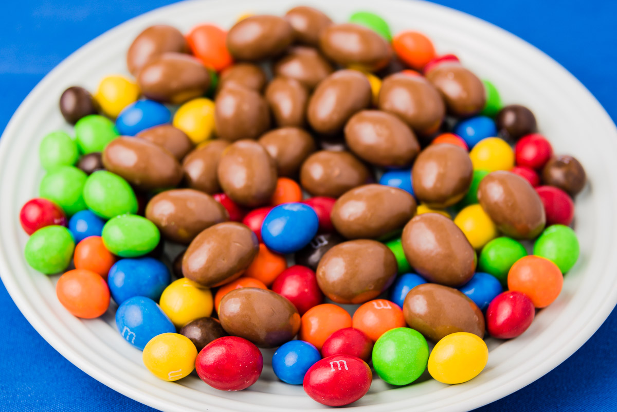 Chocolate almonds and peanut M&Ms