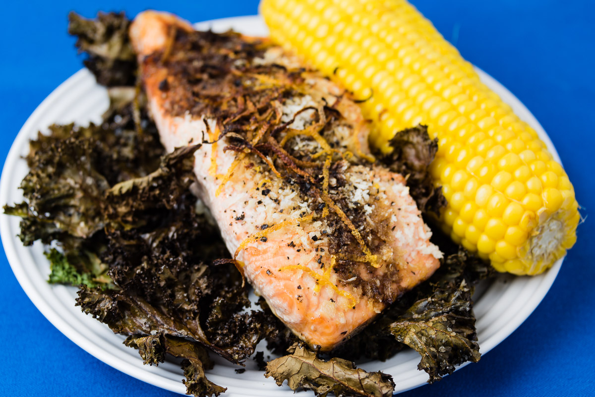 Monday dinner. Salmon with sweet corn and kale chips.