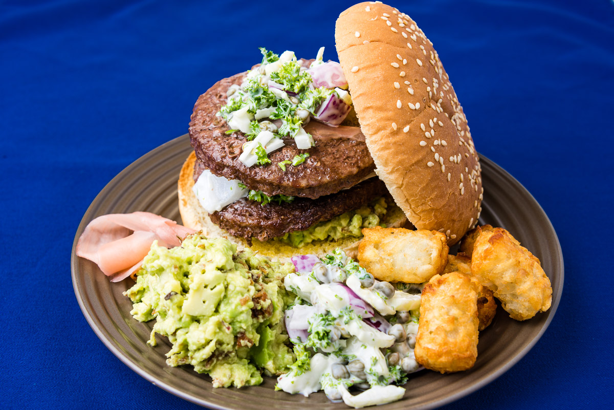 TGIF dinner. Beef burger with avocado and fennel salad and potato gems.