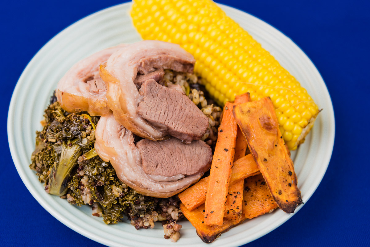 Sunday dinner. Roast lamb, sweet potato chips, sweet corn and quinoa rice and kale.