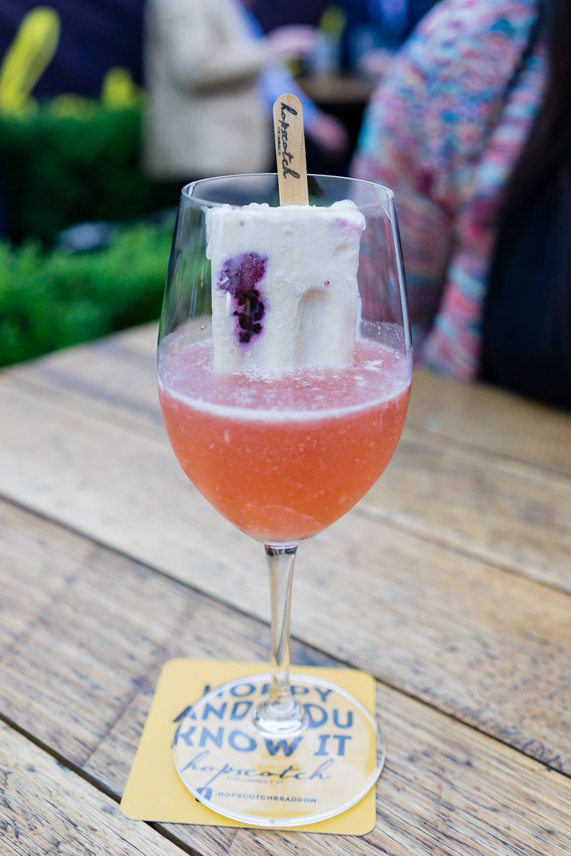 This is a photograph of a drink at Hopscotch for Eat Drink Blog 6