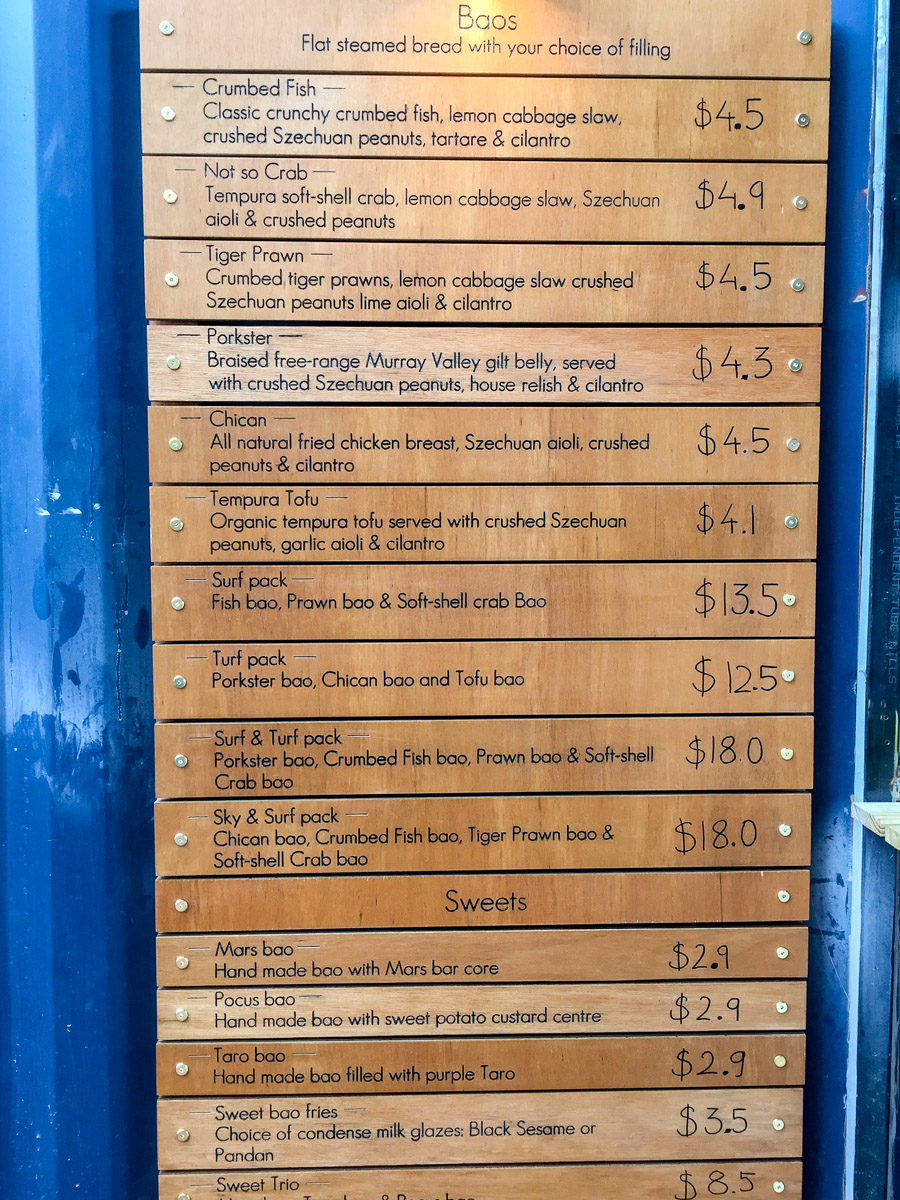 This is a photograph of half of Tin Can's menu at Westside Acton Park Shipping Container Village