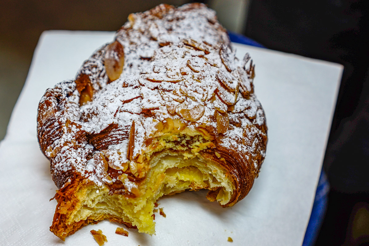 This is a photograph of an A. Baker Almond and custard croissant