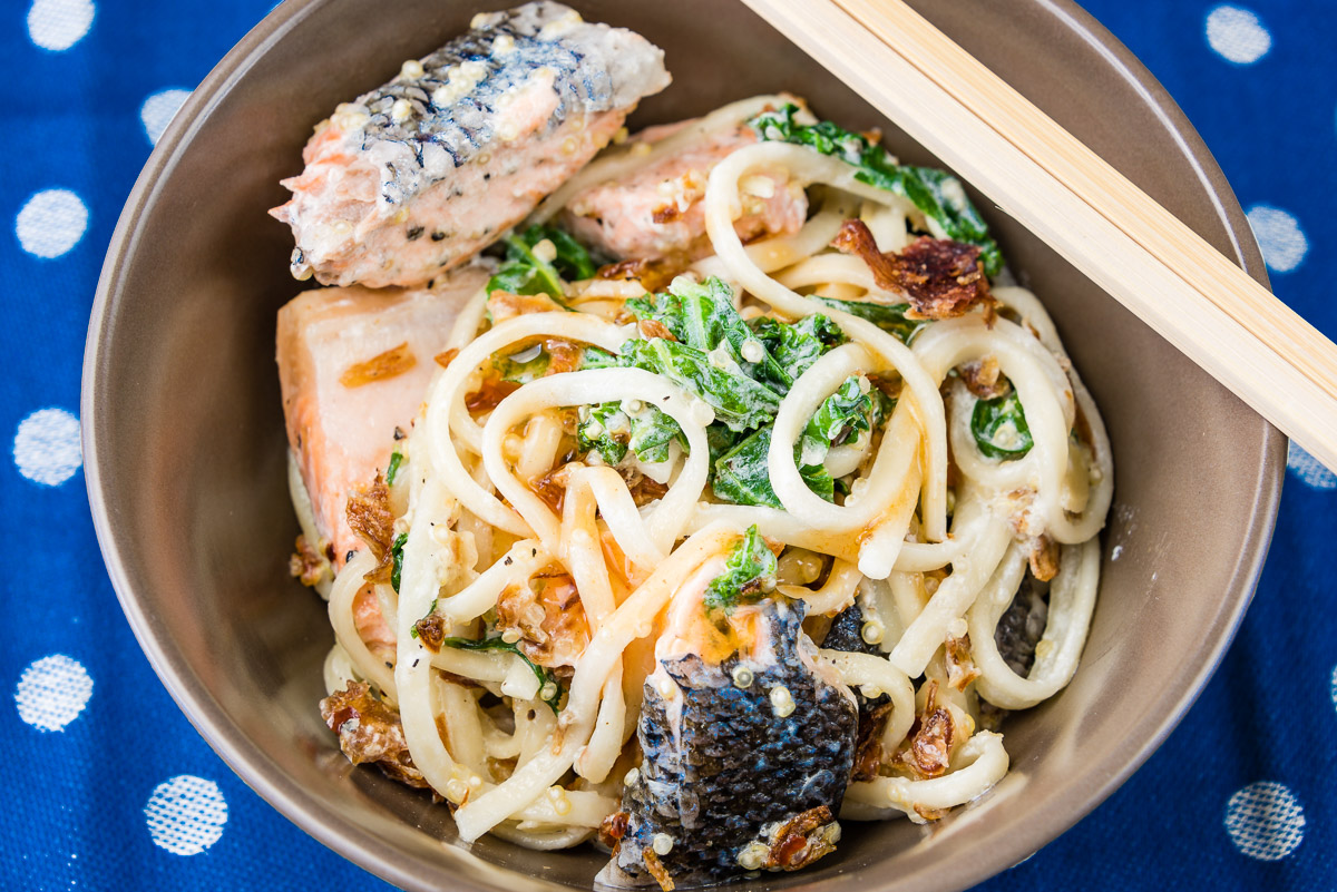 This is a photograph of my Baked salmon with quinoa udon noodles and kale