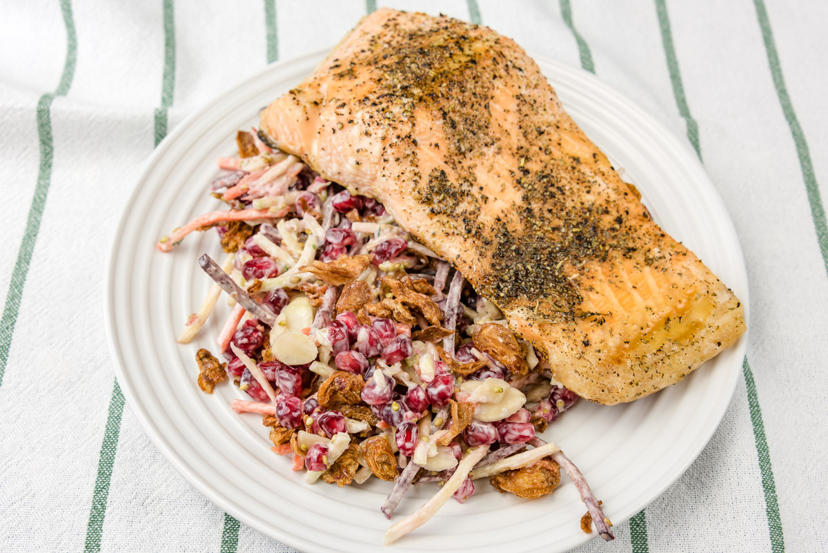 This is a photograph of my baked salmon dinner