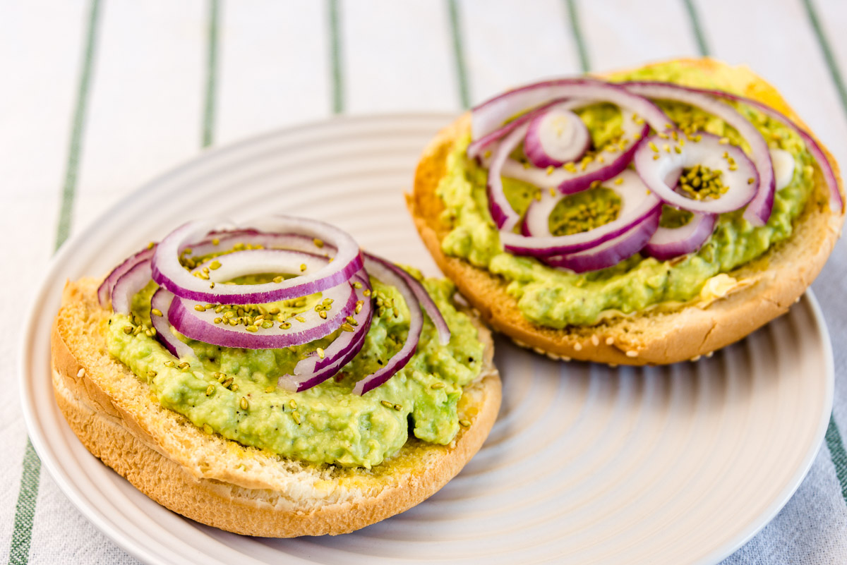 Wasabi avocado and onion sandwich with wasabi sesame seeds
