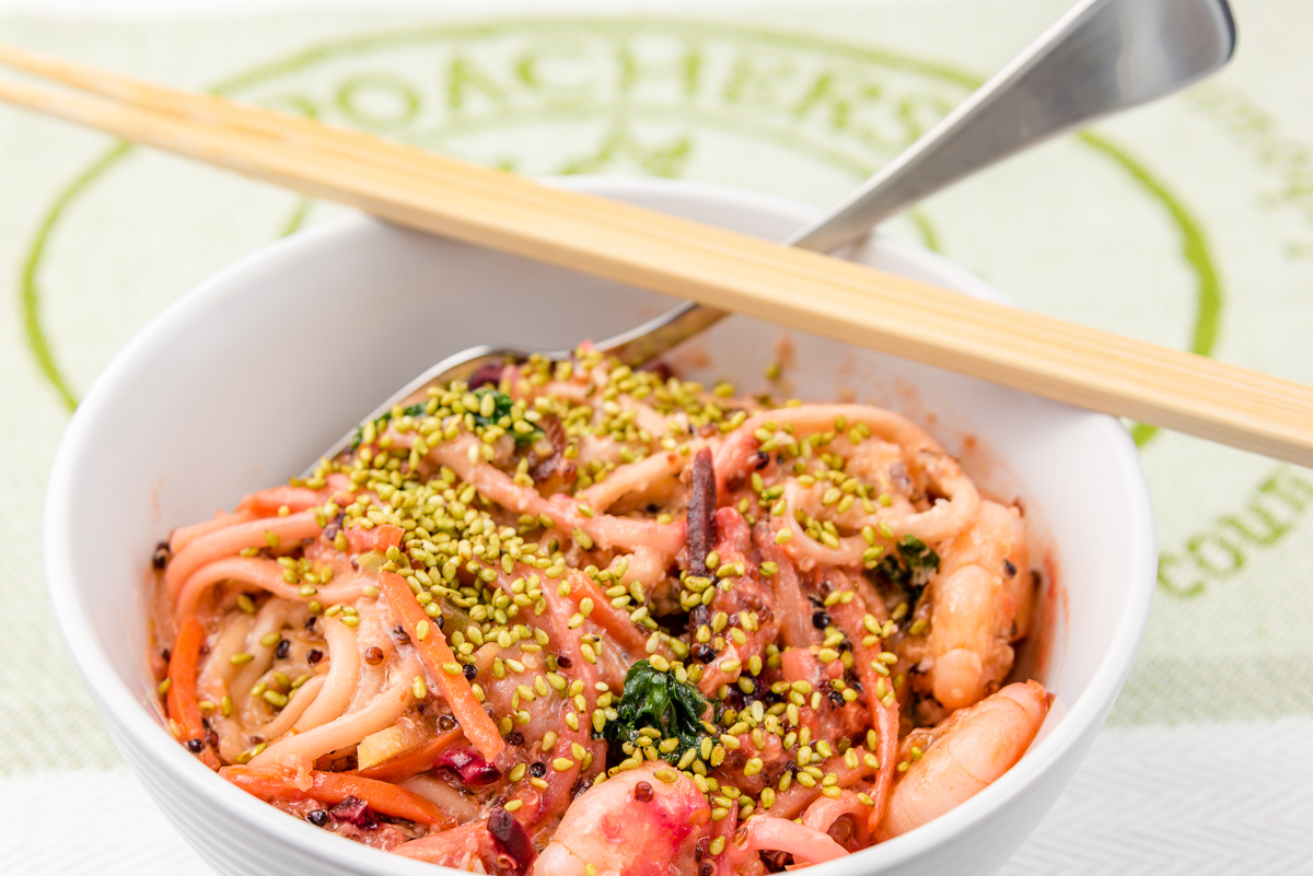 Wasabi prawns and udon noodles with kale and quinoa