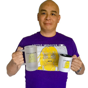 This is a photograph of Gary Lum with Jennifer Paetsch's Little Monster Girl merchandise