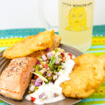 Salmon and potato scallops with fennel salad with ginger beer in my Little Monster Girl beer glass