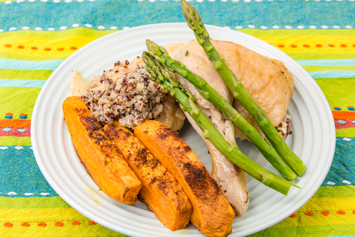 Roast chicken with sweet potato, asparagus and quinoa