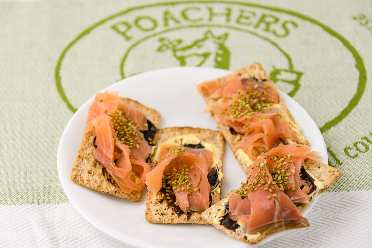 Smoked salmon with vegemite and wasabi sesame seeds