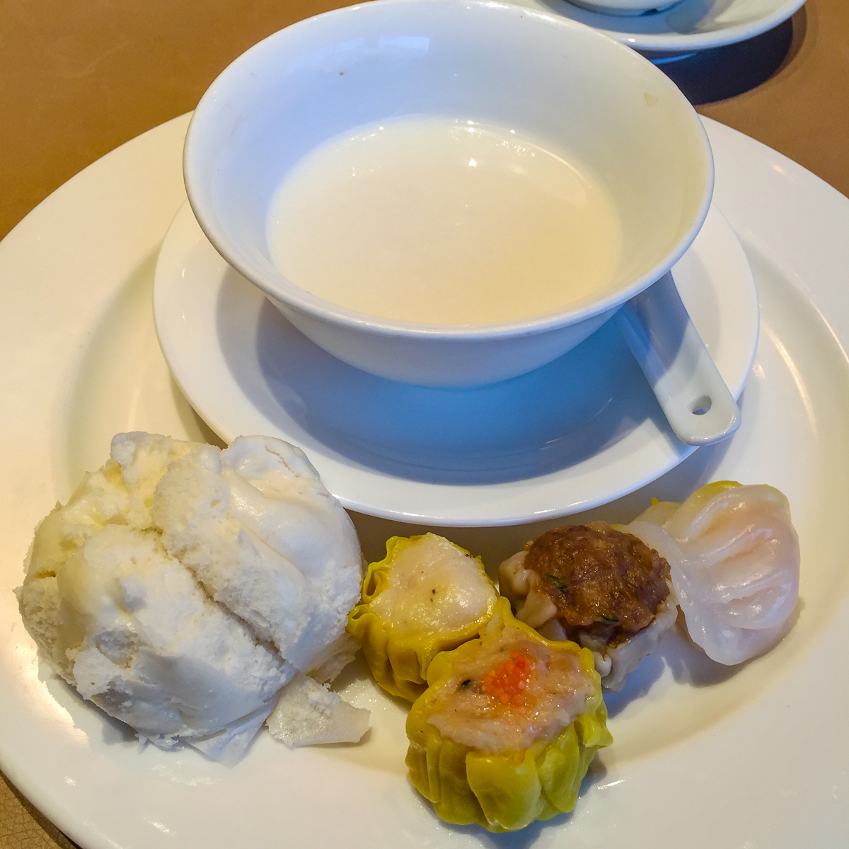 Plain congee and dim sum