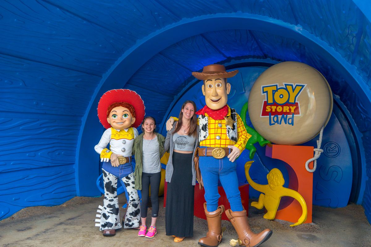 Miss14 and Ms20 with Toy Story's Woody and Jesse