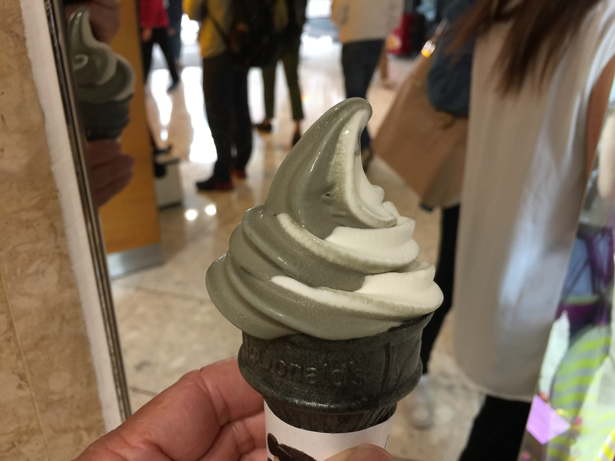 Black sesame and vanilla soft serve from McDonalds. New years day treat.