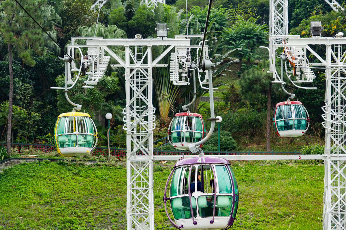 Closer photograph of the Ocean Park cable cars