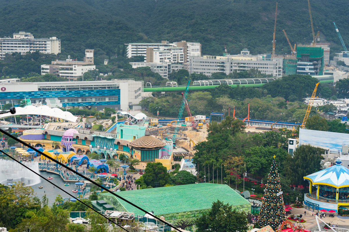 A photograph of Ocean Park from a cable car